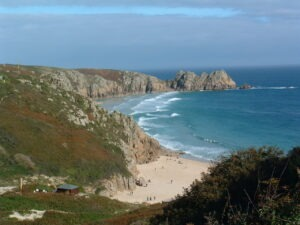 Porthcurno on SWCP walking holiday with Let's Go Walking