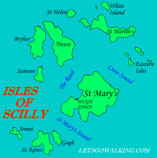 Isles of Scilly walking holiday map letsgowalking