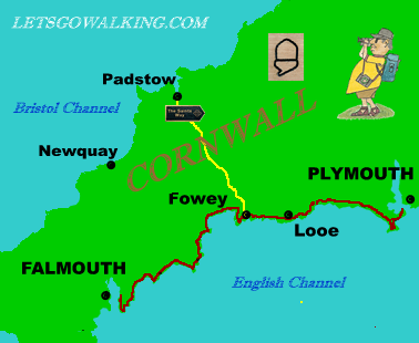 TRAILBLAZER Falmouth TO PLYMOUTh West Coust Path with letsgowalkingbase map swcp sectio