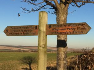 Yorkshire Wolds Way Sign letsgowalking walking holidays