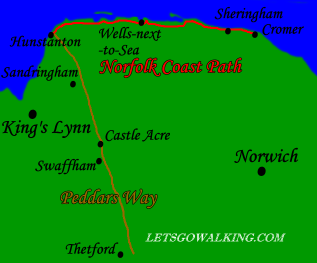 Peddars Way and Norfolk Coast Path map letsgowalking walking holidays