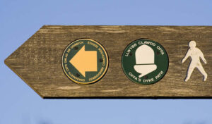 offas dyke sign wales walking holidays letsgowalking.co.uk