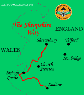 Shropshire way map letsgowalking walking holidaysy